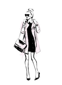 Cappotto alla moda. look elegante. vestiti ed accessori. illustrazione vettoriale.