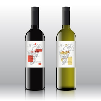 Etichette di vino rosso e bianco di arte contemporanea alla moda impostate sulle bottiglie realistiche. pulito e moderno con grappolo d'uva disegnato a mano, foglia e tipografia retrò.
