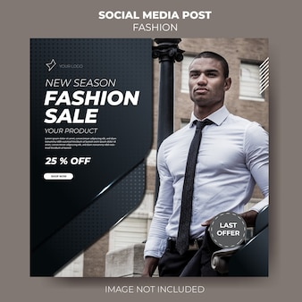 Modello post vendita elegante social media moda scuro