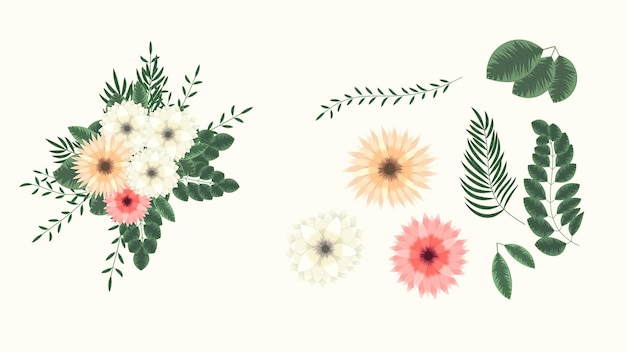 Eleganti ed eleganti fiori da giardino arrangiamenti isolati elementi di design per matrimoni tessili