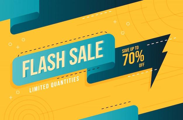 Elegante vendita flash in stile origami banner