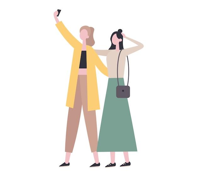 Amici alla moda che prendono selfie insieme. illustrazione