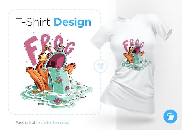 Elegante rana con uccello sulla testa. stampe su t-shirt. illustrazione isolata su bianco.