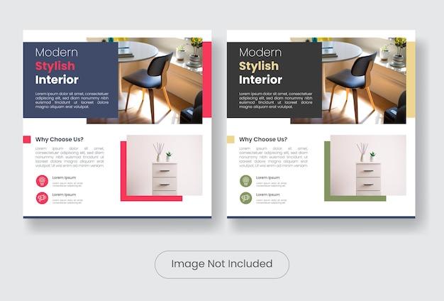 Set di modelli di banner per post sui social media dal design elegante di mobili