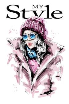 Ragazza alla moda nell'illustrazione del cappello lavorato a maglia