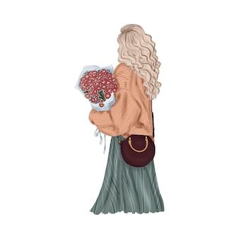 Ragazza alla moda con bouquet di fiori