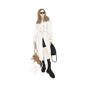 Ragazza alla moda con il cane