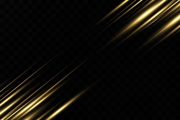 Elegante effetto di luce dorata. raggi laser astratti di luce. raggi di luce al neon caotici. sfondo dorato