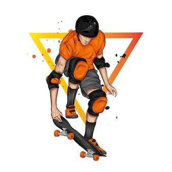 Ragazzo alla moda che salta su uno skateboard.