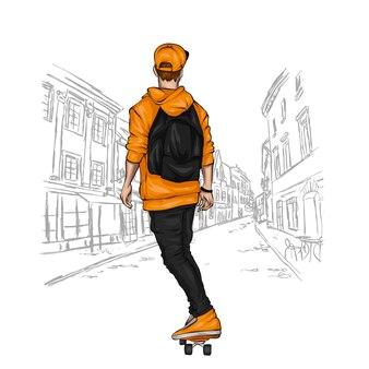 Ragazzo alla moda e skateboard, pattinatore.