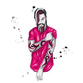 Ragazzo alla moda con barba e tatuaggi. uomo.