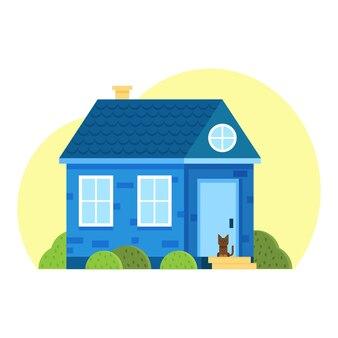 Casa elegante contro il cielo e altri elementi dell'ambiente