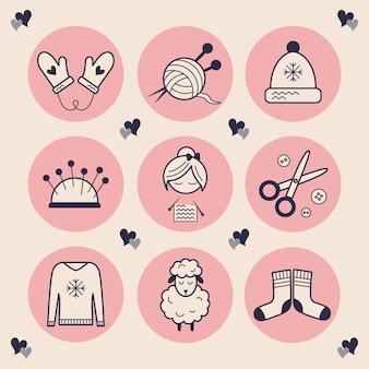 Icone alla moda per il ricamo. immagini di una donna che lavora a maglia, forbici, bottoni, un cappello, guanti con cuori, lana di pecora morbida e calda, un gomitolo di lana con ferri da maglia. punti salienti alla moda fatti a mano