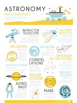 Elegante infografica sul tema dell'astronomia