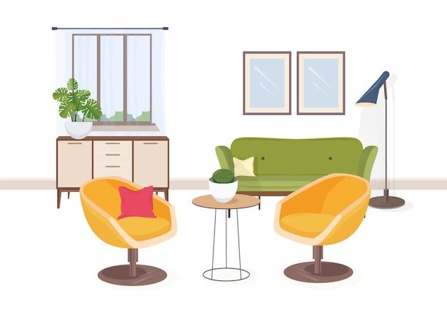 Interni eleganti di soggiorno o salone pieno di mobili confortevoli e decorazioni per la casa