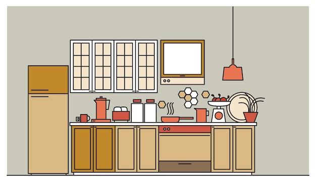 Interni eleganti della moderna cucina arredata con armadi, elettrodomestici, pentole, utensili da cucina e strutture