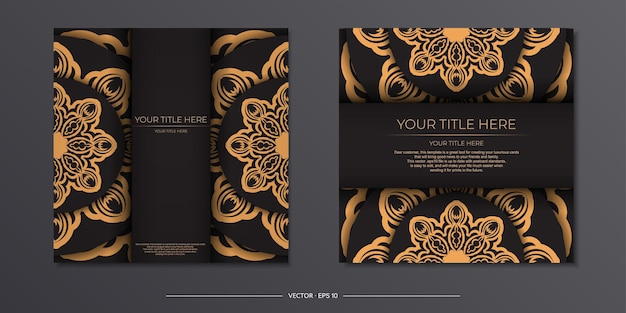 Elegante biglietto d'invito con motivi greci. elegante design da cartolina in colore nero con vintage