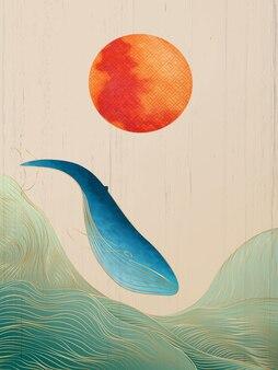 Elegante poster in stile giapponese con onde e balene di linee dorate per la decorazione di tessuti e social media.