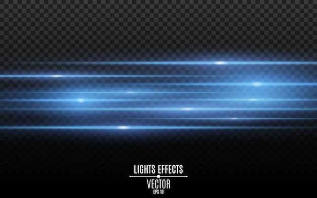 Elegante effetto luce. raggi laser blu astratti di luce. raggi di luce al neon caotici. isolato su sfondo scuro trasparente.