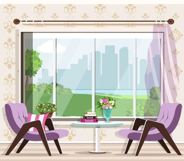 Elegante soggiorno interno con poltrone