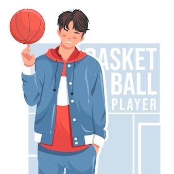 Uomo alla moda che posa con l'illustrazione piana di vettore di pallacanestro