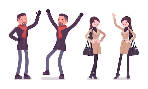 Elegante uomo e donna emozioni positive che indossano vestiti autunnali illustrazione