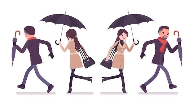 Elegante uomo e donna con l'ombrello in esecuzione in autunno vestiti illustrazione