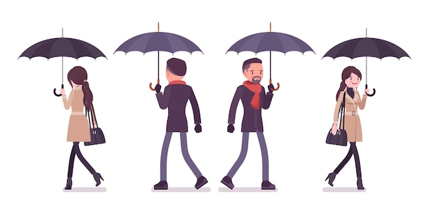 Uomo e donna alla moda con l'ombrello che cammina nell'illustrazione dei vestiti di autunno
