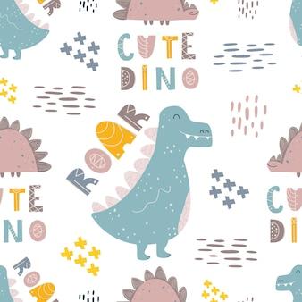 Modello elegante con dinosauri. frasi divertenti. stampa senza cuciture per la stampa su tessuto, carta digitale. design universale per bambini. mostri simpatici cartoni animati. illustrazione vettoriale, scarabocchio