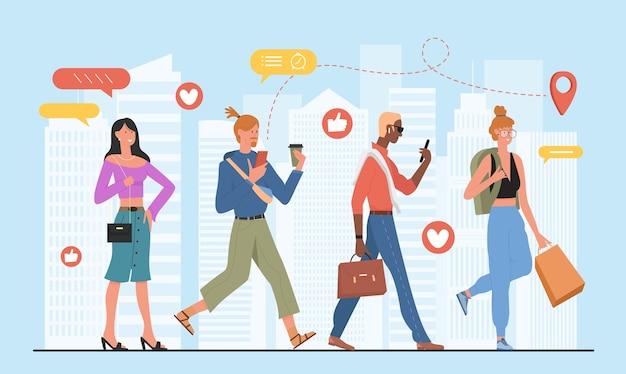 Le persone alla moda affollano la vita dei social media nel concetto di paesaggio urbano urbano