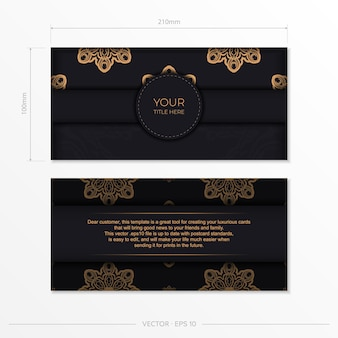 Elegante design da cartolina pronto per la stampa in nero con motivi vintage. modello di carta di invito con ornamento greco.