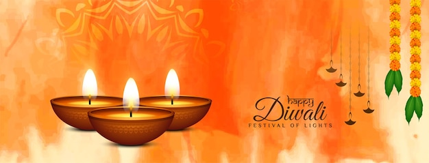 Elegante banner religioso felice festival diwali