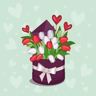 Elegante scatola rotonda con adesivo per testo con cuori di tulipani rosa bianchi rossi gialli e buste per...