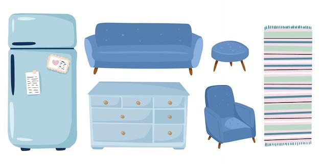 Eleganti elementi interni del soggiorno scandinavo: mobili, divano, poltrona, armadio, frigorifero, moquette. decorazioni per la casa. stagione accogliente. comodo appartamento moderno arredato in stile hygge