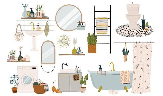 Elegante bagno scandinavo interno - bidet, rubinetto, vasca da bagno, wc, lavandino, decorazioni per la casa.