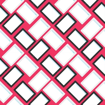 Modello senza cuciture elegante con tablet in stile piatto. sfondi di design di cartoni animati su tecnologia, it, internet, social network e progresso tecnico e supporto