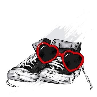 Illustrazione di occhiali e scarpe da ginnastica alla moda