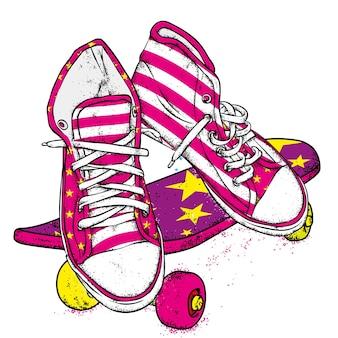 Scarpe da ginnastica e skateboard alla moda
