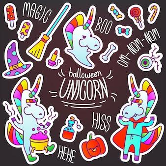 Eleganti adesivi a tema halloween con un unicorno. un set di accessori per halloween e diverse immagini inquietanti: un vampiro, uno stregone, un fantasma. immagini arcobaleno per decorare un diario.