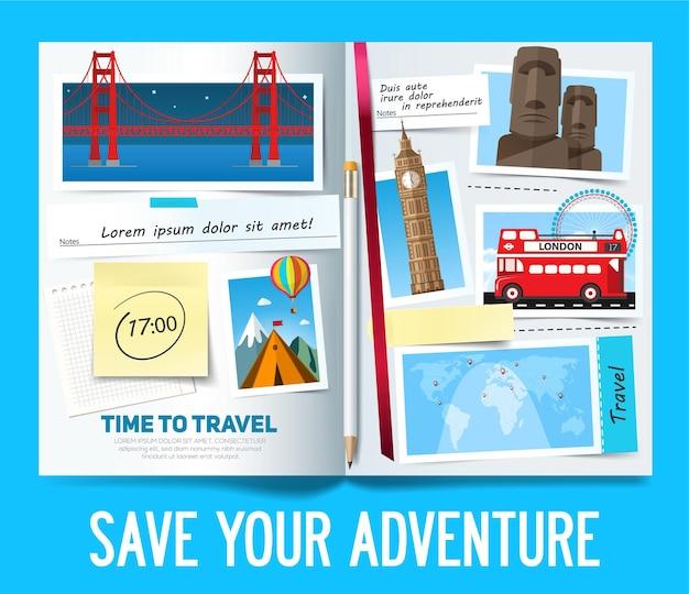 Elegante banner di viaggio con album aperto, foto, note e adesivi. concetto di banner di viaggio.