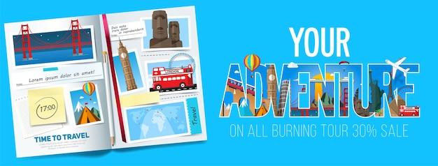 Elegante banner di viaggio con album aperto, foto, note e adesivi