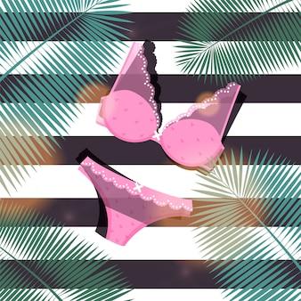 La biancheria intima alla moda ha messo per la giovane donna, illustrazione. reggiseno e mutandine con pizzo, fiocco per la decorazione, vestito femminile rosa.