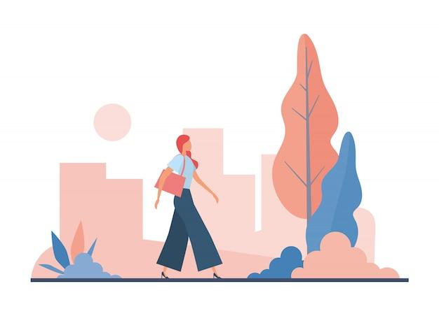 Donna alla moda recarsi al lavoro. illustrazione