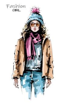 Donna alla moda in giacca invernale Vettore Premium