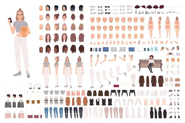 Elegante set di animazione di giovane donna o kit costruttore. raccolta di parti del corpo, gesti, vestiti e accessori alla moda.