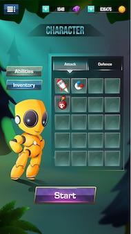 Menu a comparsa degli elementi dell'interfaccia utente di stilizzazione del gioco