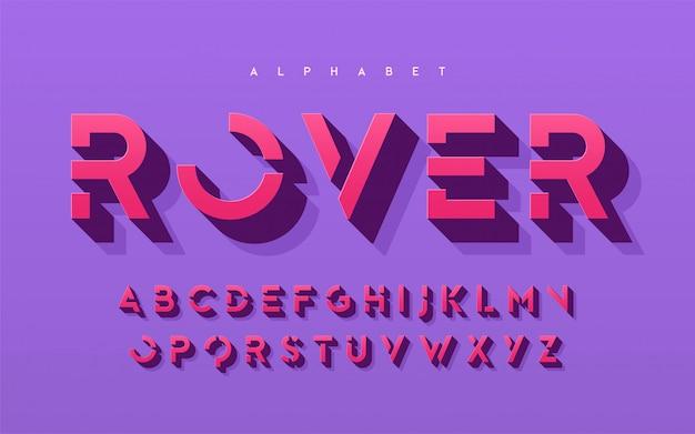 Stilizzato 3d lettere maiuscole, alfabeto, carattere tipografico, font, tipografia.