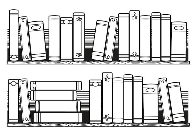 Libri in bianco e nero stilizzati sullo scaffale. libri da leggere da colorare per adulti, tracker di libri di inserimento di proiettili stampabili
