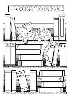 Libri stilizzati in bianco e nero. gatto addormentato sdraiato su uno scaffale tra i libri. disegni da colorare per adulti, tracker per libri con inserti bullet journal stampabile