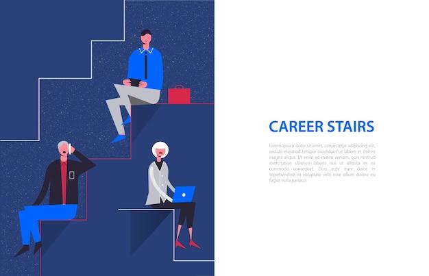 Personaggi stilizzati. illustrazione di affari. concetto di scale di carriera. uomini d'affari e imprenditrice seduti su diversi livelli